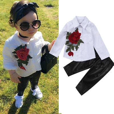 Fashion Kids Baby Girl Clothes Outfit Floral T-shirt Tops+PU Leggings Pants Set