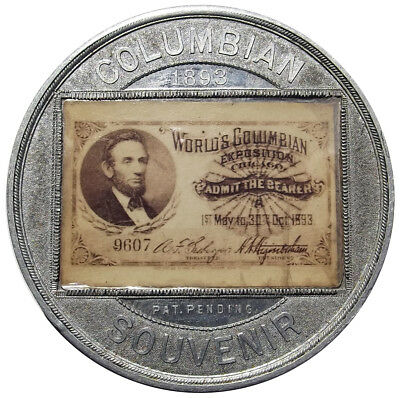1893 World's Columbian Expo Encased Ticket Medal - Lincoln Token - 50mm - Mica