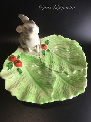 VINTAGE Wembley Ware Grey Rabbit on a Lettuce Leaf