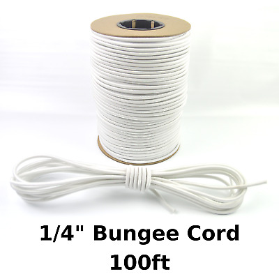 "100ft 1/4"" White Bungee Cord Marine Grade Heavy Duty Shock Rope Tie Down Stretch"