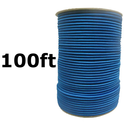 """100ft 1/4"""" Blue Bungee Cord Marine Grade Heavy Duty Shock Rope Tie Down Stretch"""
