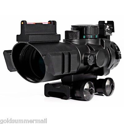 Tactical 4X32 RGB Prismatic Rifle Scope Compact Fiber Sight 20MM Rail Red Dot 8""