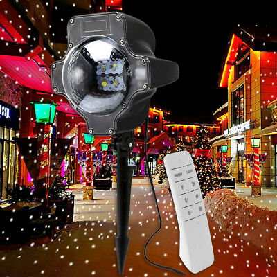 Indoor/Outdoor Laser Lights Snowing Projector Party Christmas Deco Landscape LED