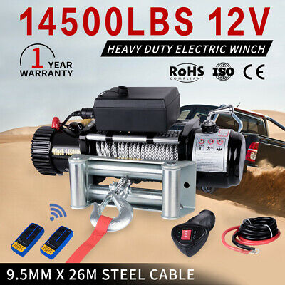 14500LBS 12V Electric Winch 26M Steel Cable Remote Offroad 4WD Truck VS 12000LBS