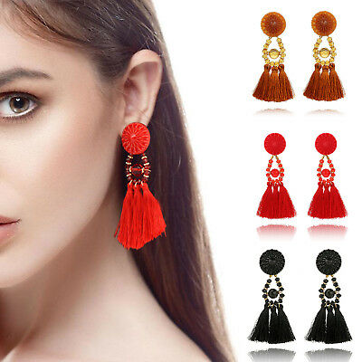NEW Women Fashion Rhinestone Long Tassel Dangle Earrings Fringe Drop Earrings