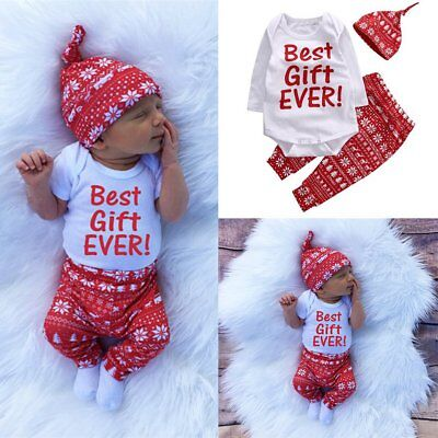 3PCS Newborn Baby Boy Girl Romper Tops+Long Pants Hat Outfits Clothes Xmas Set