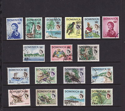 DOMINICA 1963 QUEEN ELIZABETH DEFINITIVE COMPLETE SET 17 STAMPS to $4.80 FINE U