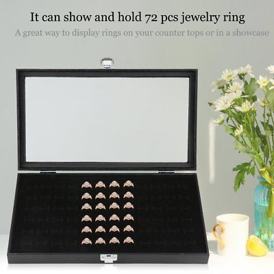 72 Slot Ring Display Case Organizer Jewelry Storage Box With Glass Top Cover SE