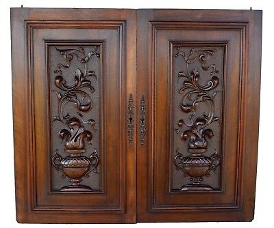French Antique PAIR of Carved Salvaged Cupboard Wood Doors Panel Furniture