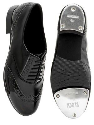 Clearance: Ladies Charleston Black on Black Brogue Detail Classic Tap Shoe