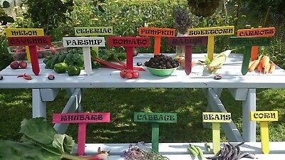 Wooden Vegetable Plant Herb Signs, Wood Labels Plant Markers Allotment Garden