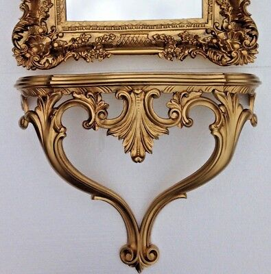 Wall Console Antique Gold Baroque Table 56x45x18 Telephone Shelf