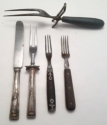 MID CENTURY MODERN LOT of VINTAGE WOOD & SILVER HEAVY MEAT FORKS & KNIFE ANTIQUE