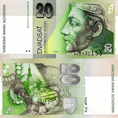 SLOVAKIA 20 Korun Banknote World Paper Money UNC Currency Pick p20a Bill Note