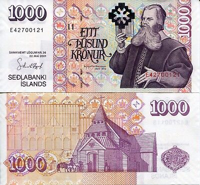 ICELAND 1000 Kronur Banknote World Paper Money UNC Currency Pick pNEW Sign 32