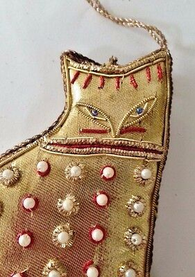 "Cat Ornament Gold Color Beaded VTG 5"" L x 3.5"" Christmas Birthday Kitty Gift"
