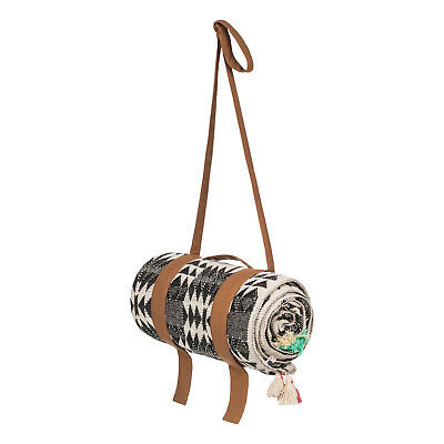 Escape large Monochrome Geo Beach Blanket By Roxy - Tan Carry Handle and Strap
