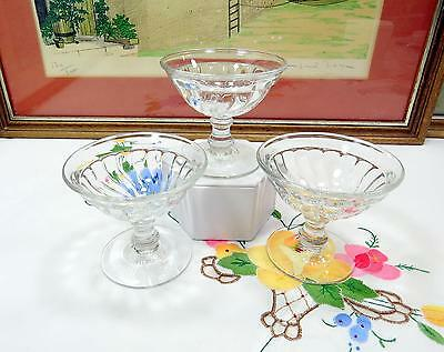 "3Pc Vintage Fostoria Colony Heavy Swirl 3 1/2"" Champagne Tall Sherbets 1940-1973"