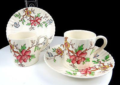 """Booths England 4 Pc Chinese Tree 2 1/4"""" Demitasse Cup & Saucer Sets 1912-1930"""