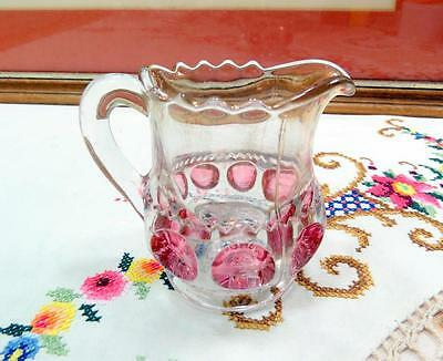 """Antique Us Glass Kings Crown Thumbprint Ruby Stained & Gold 3 1/8"""" Creamer 1914"""