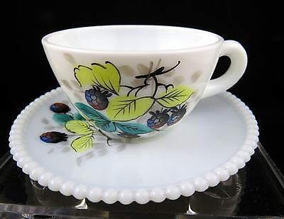 "Vintage Westmoreland Milk Glass Beaded Edge Blackberry 2 1/8"" Cup & Saucer 1950"