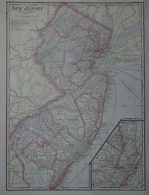 1911 New Jersey Antique Color Atlas Map**  105 years-old!