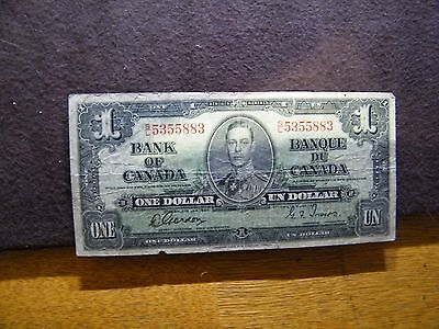 1937 BANK OF CANADA ONE DOLLAR NOTE auctionpbj12