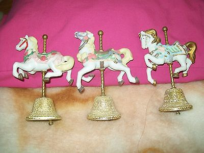 Vintage ceramic horse bells set of 3