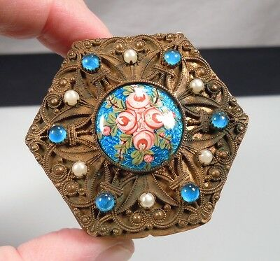 Vintage French Jeweled Guilloche Hexagonal Powder Compact
