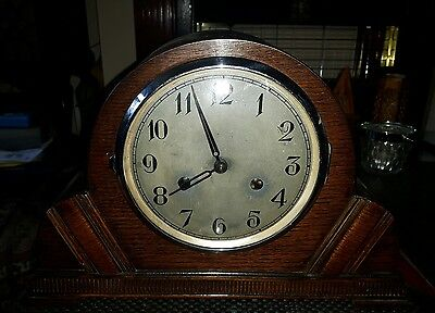 antique oak chiming mantel clock