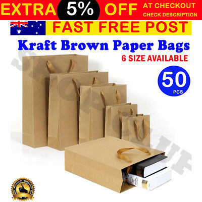 50pcs Brown Kraft Paper Carry Bags Shopping Gift Bag with Cloth Handle 6 sizes