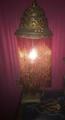 Vintage Syrian Middle eastern Beaded Table Lamp With Brass Camel Base