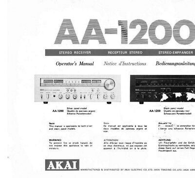 Akai AA-1200 Receiver Owners Instruction Manual