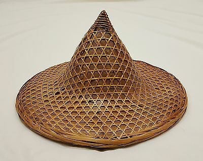 Vintage Asian Bamboo Straw Sun Farming Gardening Conical Coolie Hat