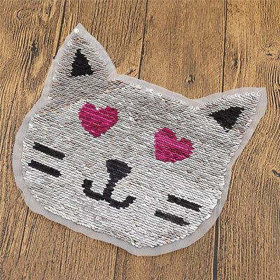 Lovely Cat Reversible Sequins Patches Applique Two Color Changing Silver Gold