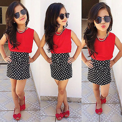 Kids Girls Vest Tops + Polka Dot Mini Skirt Dress Party Clothes Outfits Set 1-9Y