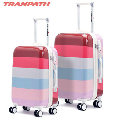 Set 2 Valigie Trolley Tranpath Cherry Guscio In Abs 4 Ruote Manico Regolabile