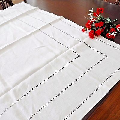 """Vintage Tablecloth White Linen Drawn Work Sturdy Cloth 40"""" Square"""