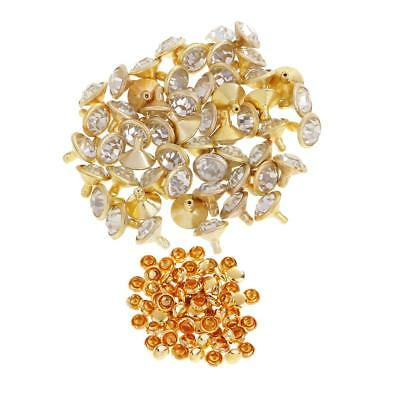 50x Rhinestone Rivet Stud for DIY Bag Shoes Clothes Decoration 7mm Gold