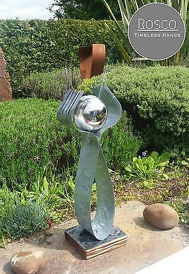 Metal Sculpture Abstract Art Garden Home Decor Statue Stainless Steel Ball Wood