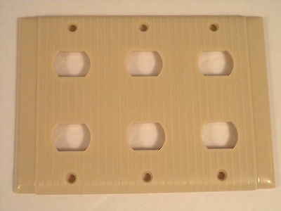 Despard Uniline ivory triple switch plate cover P&S vintage bakelite ribbed MCM