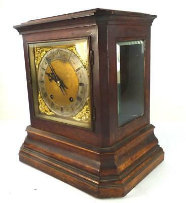 Antique German Winterhalder & Hofmeier Ting Tang Mantle Clock Glass Sided Case
