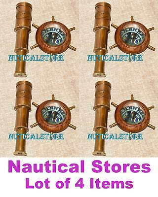 Brass Nautical Telescope 6 Inch with Compass