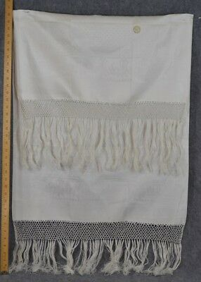 linen damask towel 1800 Italy white large 26x42  old new unused antique original