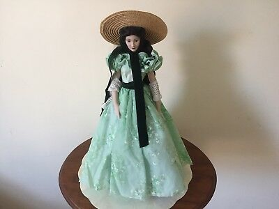 Franklin Mint Scarlett O'Hara Porcelain Doll Gone With The Wind - Barbecue Dress