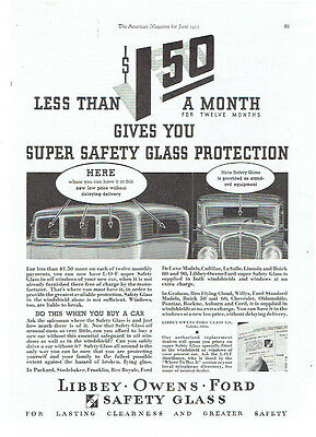 Vintage, Original, 1933 - Libbey-Owens-Ford Safety Glass Advertisement