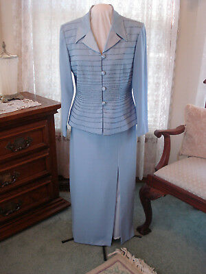 Ladies Vintage Baby Blue Beaded Evening Suit-Jacket & Long Skirt Size 14
