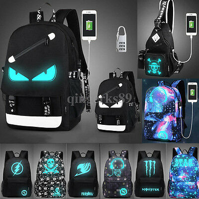 2017 Luminous Backpack School Travel Bag Triangle Rucksack with USB Charger Port