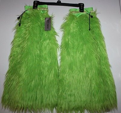 RAVE Fuzzy Leg Warmers LIME neon green NEW WITH TAGS dance cyber Hot Topic
