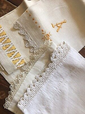 4 Antique LINEN Monogram A Damask TOWEL Lot Damask Tatted Lace Victorian OLD